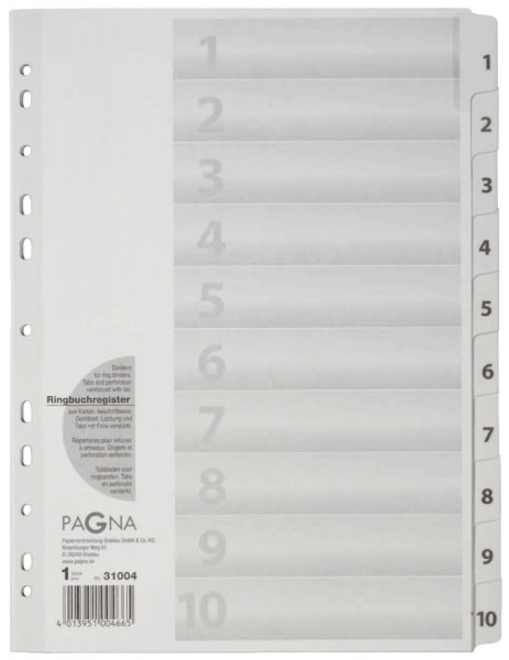 Zahlenregister - 1 - 10, Karton, A4, 10 Blatt, weiß