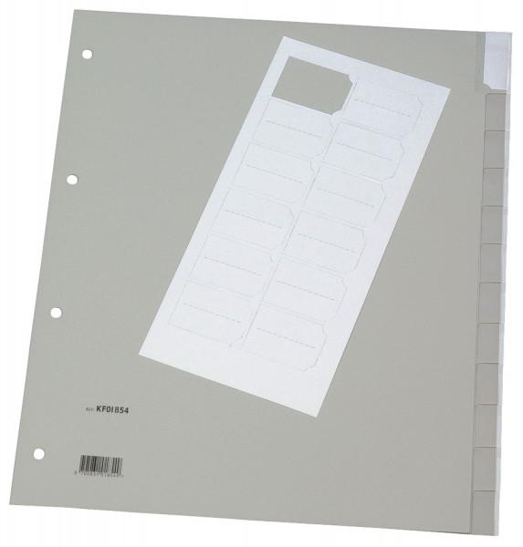 Q-Connect Register blanko, PP, A4 Überbreite, 12 Blatt, grau