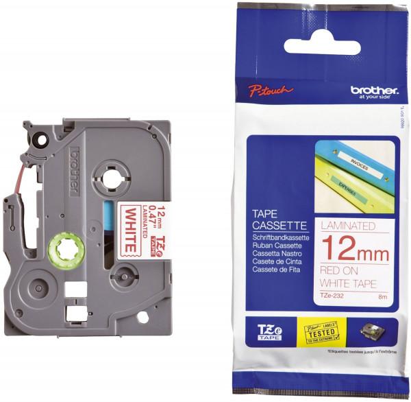 Brother® TZe 232 Schriftbandkassette - laminiert, 12 mm x 8 m, rot auf weiß