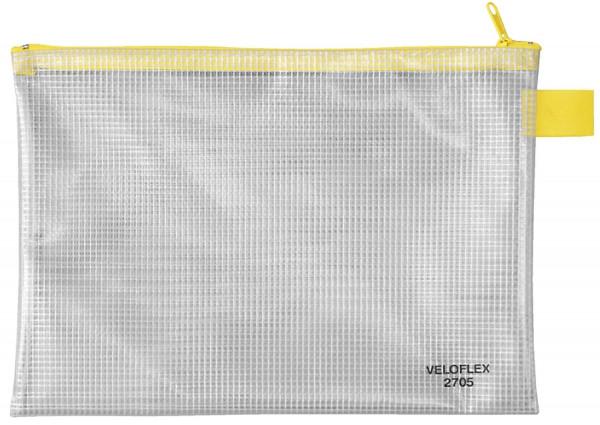 Veloflex® Reißverschlusstaschen - transparent/gelb, A5, 250 x 180 mm