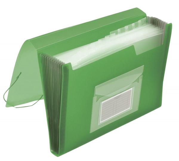Q-Connect Fächermappe grün PP mit 13 Taschen - transluzente Farben: für 250 Blatt