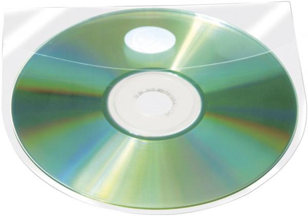 CD/DVD-Hüllen selbstklebend - mit selbstklebender Lasche, transparent, Packung mit 10 Stück