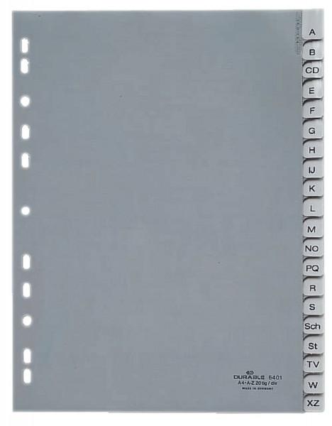 Durable 6401 Register A - Z, PP, grau, A4, 20 Blatt, Beschriftungsschild auswechselbar