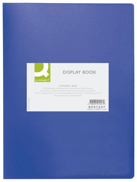 Q-Connect Sichtbuch - blau, 10 Hüllen, Einband PP, 450 mym,
