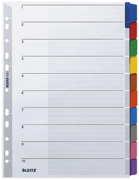 Leitz 4321 Register blanko, Karton, A4, 10 Blatt, Taben 10-farbig