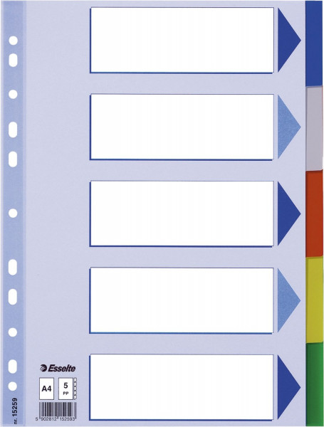Esselte Register blanko, PP, A4, 5-teilig + Deckblatt, farbig