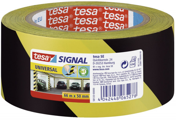 Markierungsklebeband Universal - gelb/schwarz - 66 mm x 50 m