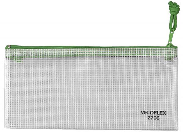 Veloflex® Reißverschlusstaschen - transparent/grün, A6, 200 x 100 mm