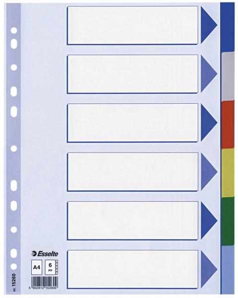 Esselte Register blanko, PP, A4, 6-teilig + Deckblatt, farbig