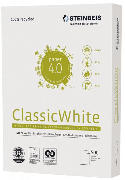 Steinbeis Recyclingpapier Classic White A4, 80g, weiß, 500 Blatt