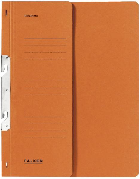 Falken Einhakhefter A4 orange halber Vorderdeckel kfm. Heftung, Manilakarton, 250 g/qm