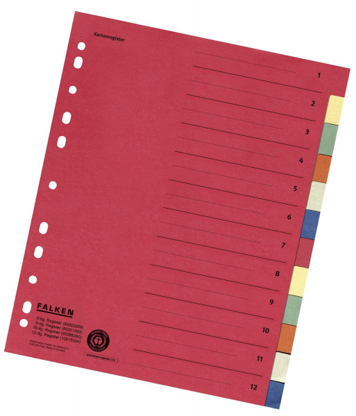 Zahlenregister - 1-12, Karton farbig, A4, 6 Farben, gelocht mit Orgadruck