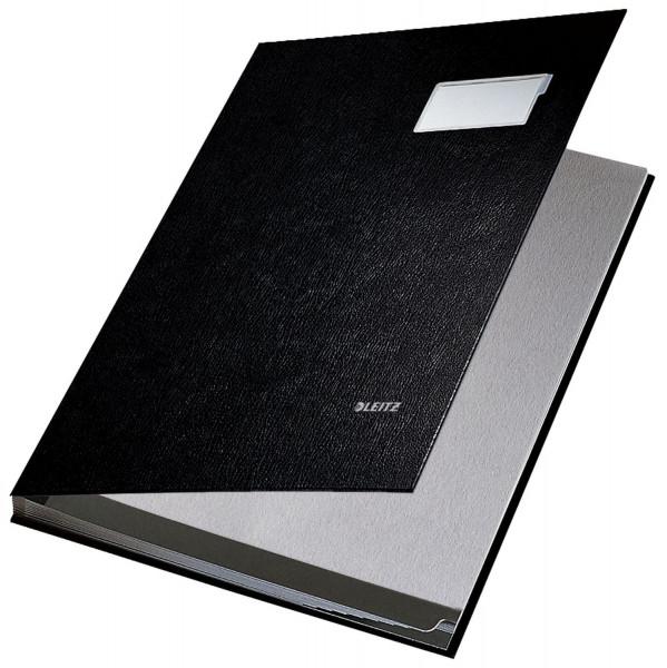 Leitz 5701 Unterschriftenmappe, schwarz 10 Fächer, Überzug PP,