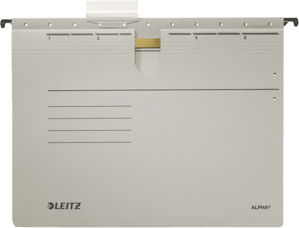 Leitz 1984 grau Hängehefter ALPHA® - kfm. Heftung, Colorspankarton, 5 Stück