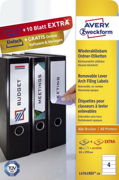 Zweckform® L4761REV-20 weiß Rückenschild 61 x 192 mm breite Ordner kurz 30 Blatt 120 Etiketten