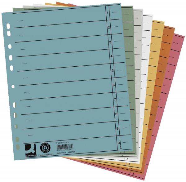 Q-Connect Trennblätter 5 Farben, A4, Überbreite, 100 Stück (5x20)