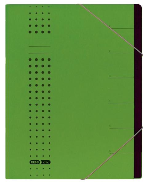 Ordnungsmappe chic, Karton (RC), 450 g/qm, A4, 7 Fächer, grün