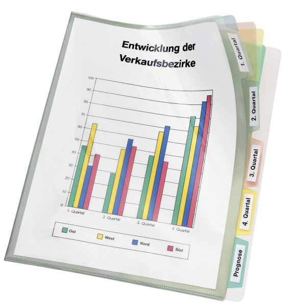 Veloflex® Registerhülle PP, A4, transparente mit farbiger 5-fach Unterteilung