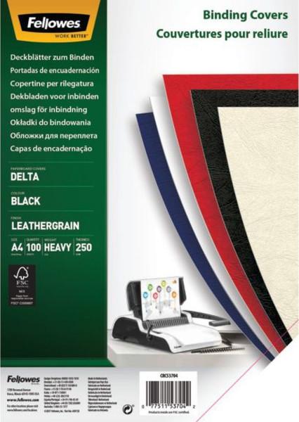 Deckblätter - Lederstruktur, A4, schwarz, 100 Stück