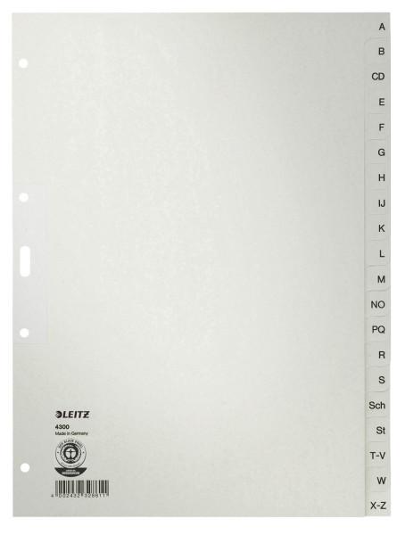 Leitz 4300 Register A - Z, Papier, A4, 30 cm hoch, 20 Blatt, grau