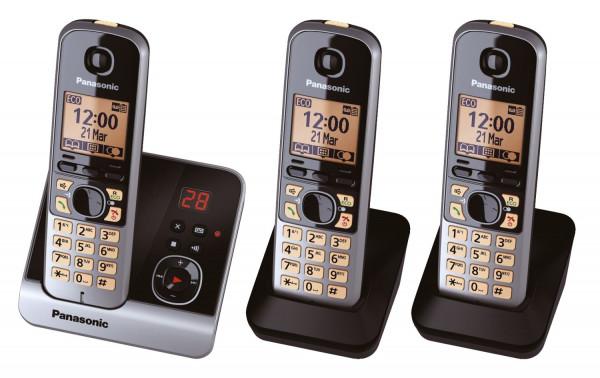 Telefon KX-TG6723GB schnurlos titan/schwarz