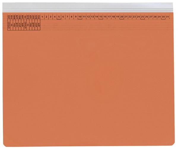 Kanzleihefter A gefalzt orange - Rechtsheftung (kaufmännische Heftung), 1 Tasche, 1 Abheftvorrichtun