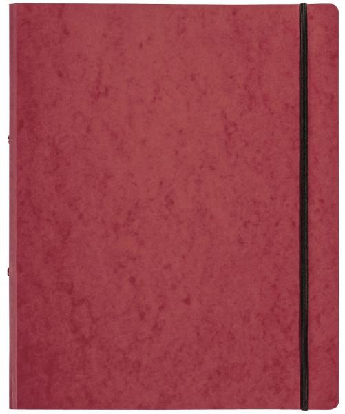 Ringbuch Pressspan - A4, 2-Ring, Ring-Ø 16mm, Gummizug, rot