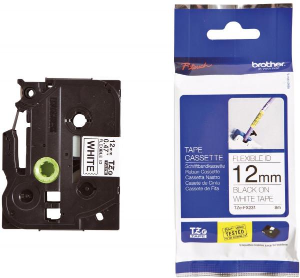 Brother® TZe FX231 Schriftbandkassette - laminiert, 12 mm x 8 m, schwarz auf weiß