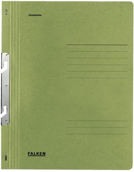 Falken Einhakhefter A4 grün ganzer Vorderdeckel kfm. Heftung, Manilakarton, 250 g/qm