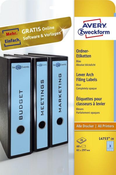 Avery Zweckform® L4753-20 blau Rückenschilder breit lang A4, 20 Blatt 60 Stück