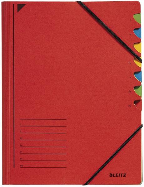 Leitz 3907 Ordnungsmappe, 7 Fächer, rot Colorspankarton