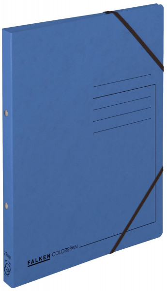 Falken Ringbuch Colorspankarton blau A4, 2-Ring, Gummizug