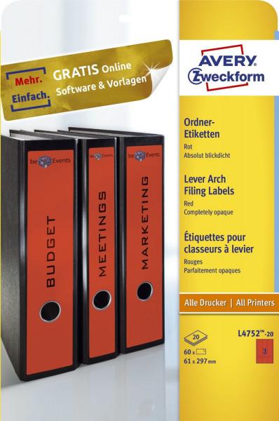 Zweckform® L4752-20 rot Rückenschild breit lang, A4, 20 Blatt 60 Stück