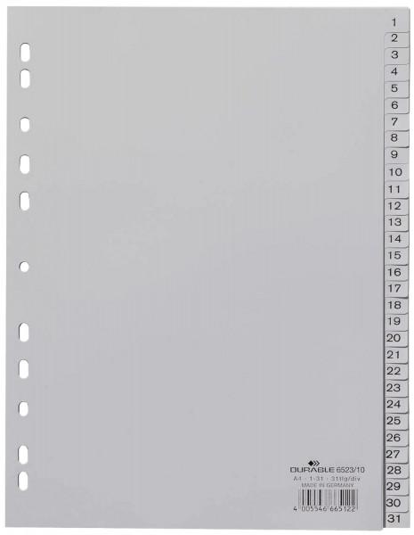 Durable 6523 Register 1 - 31, PP grau, A4, 31 Blatt