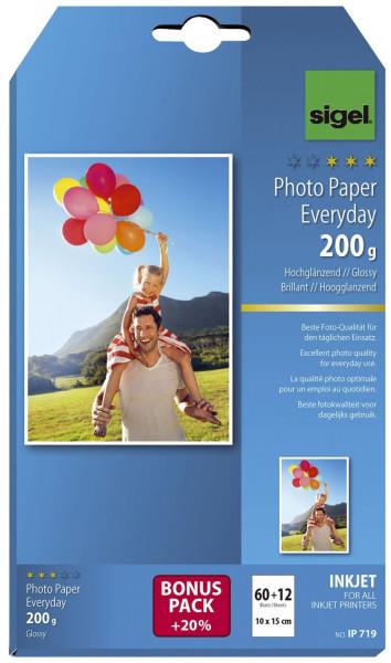 Inkjet Fotopapier Everyday - 10x 15 cm, hochglänzend, 200 g/qm, 60 + 12 Blatt