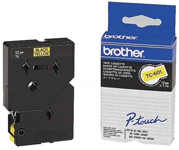 Brother® TC 601 Schriftbandkassetten, laminiert, 12 mm x 7,7 m, schwarz auf gelb