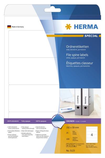 Herma 5123 Rückenschild A4 weiß 192x59 mm Papier matt blickdicht 100 St.