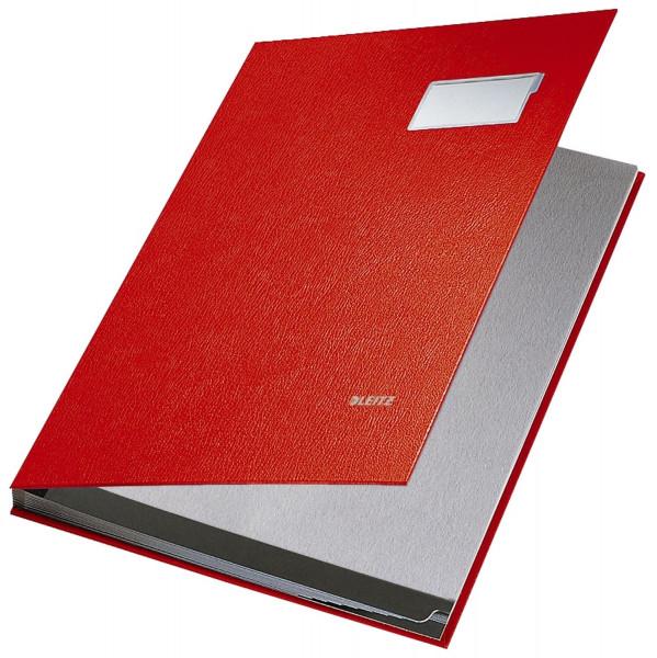 Leitz 5701 Unterschriftenmappe, rot, 10 Fächer, Überzug PP,