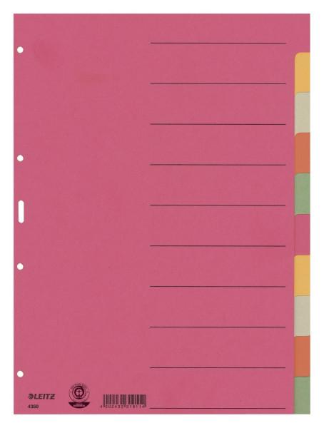 Leitz 4359 Register Karton, blanko, A4, 10 Blatt, farbig