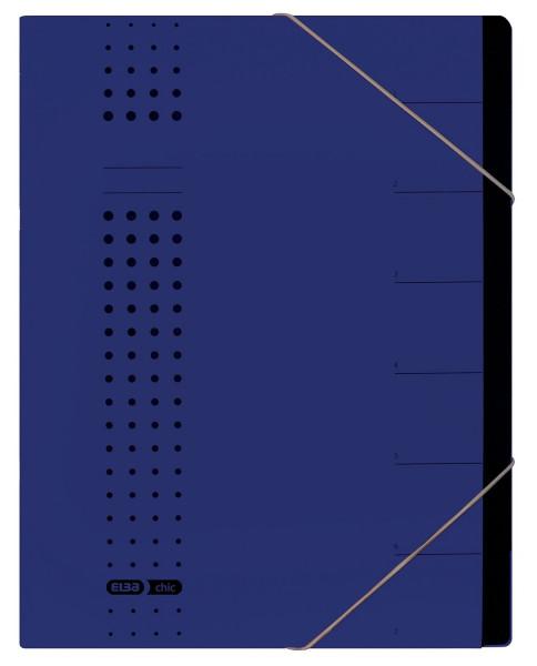 Ordnungsmappe chic, Karton (RC), 450 g/qm, A4, 7 Fächer, dunkelblau