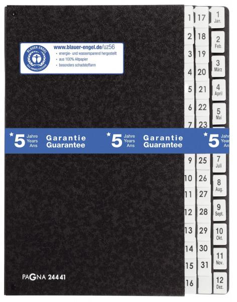 Pagna® Pultordner Hartpappe - 1 - 31 und 1-12 / Jan. - Dez., 44 Fächer, schwarz