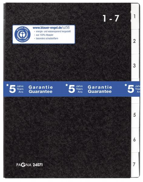 Pagna® Pultordner Hartpappe 1 - 7, 7 Fächer, schwarz