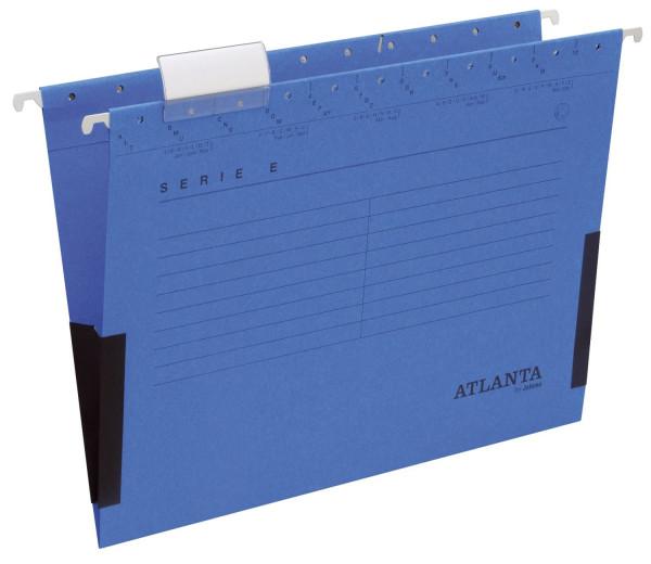 Atlanta Hängetasche blau Serie E, Leinenfrösche, inkl. Vollsichtreiter und Blankoschildchen