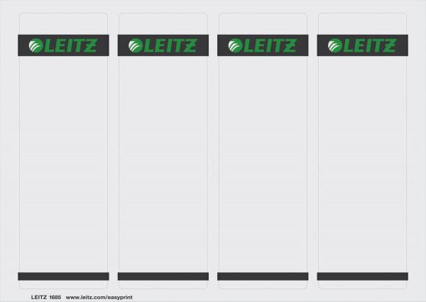 Leitz1685 Rückenschilder, kurz/breit, 400 Stück, grau