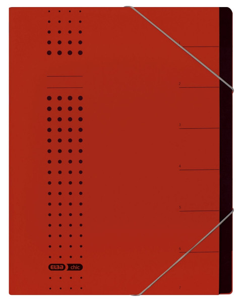 Ordnungsmappe chic, Karton (RC), 450 g/qm, A4, 7 Fächer, rot
