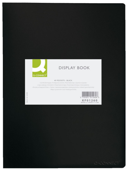 Q-Connect Sichtbuch - schwarz, 40 Hüllen, Einband PP, 450 mym,