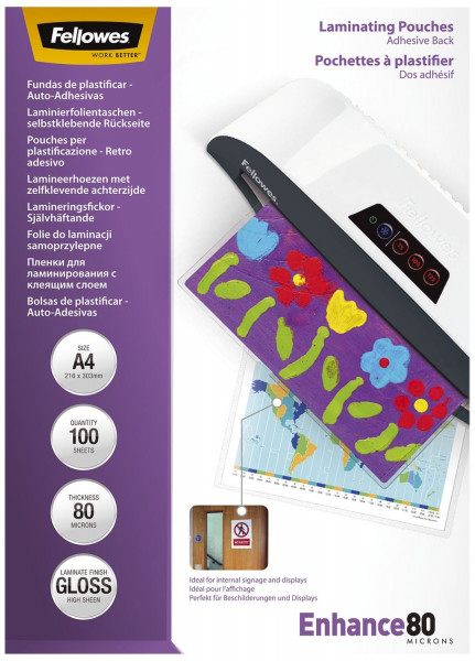 Fellowes® Laminierfolie Mikron Peel & Stick, 80 mym, A4, 100 St./Packung