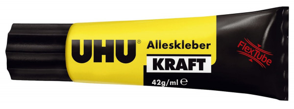 UHU® ALLESKLEBER Kraft transparent FLEX+CLEAN, in Kunststofftube mit 42 g