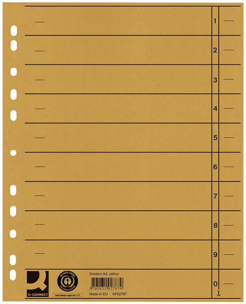 Q-Connect Trennblätter gelb, A4, Überbreite, 100 Stück