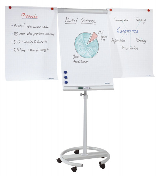 Flipchart-Tafel Mobil, 65 cm Durchmesser, 15,5 kg, 68 x 105 cm, hellgrau